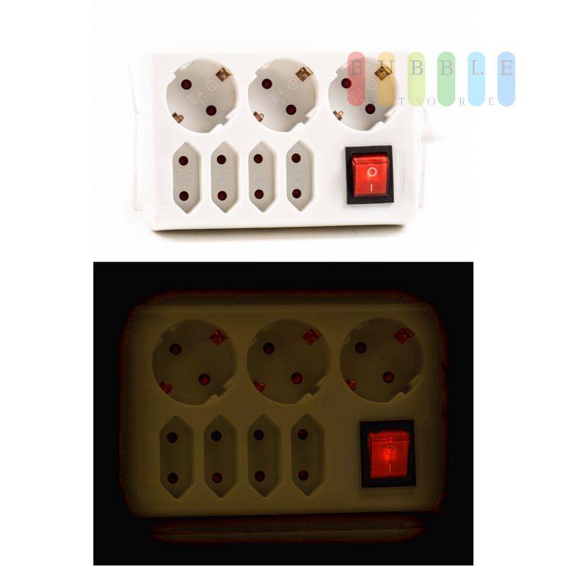 7 fach steckdosenverteiler von kinzo 3 schuko 4 eurosteckdosen 90. Black Bedroom Furniture Sets. Home Design Ideas