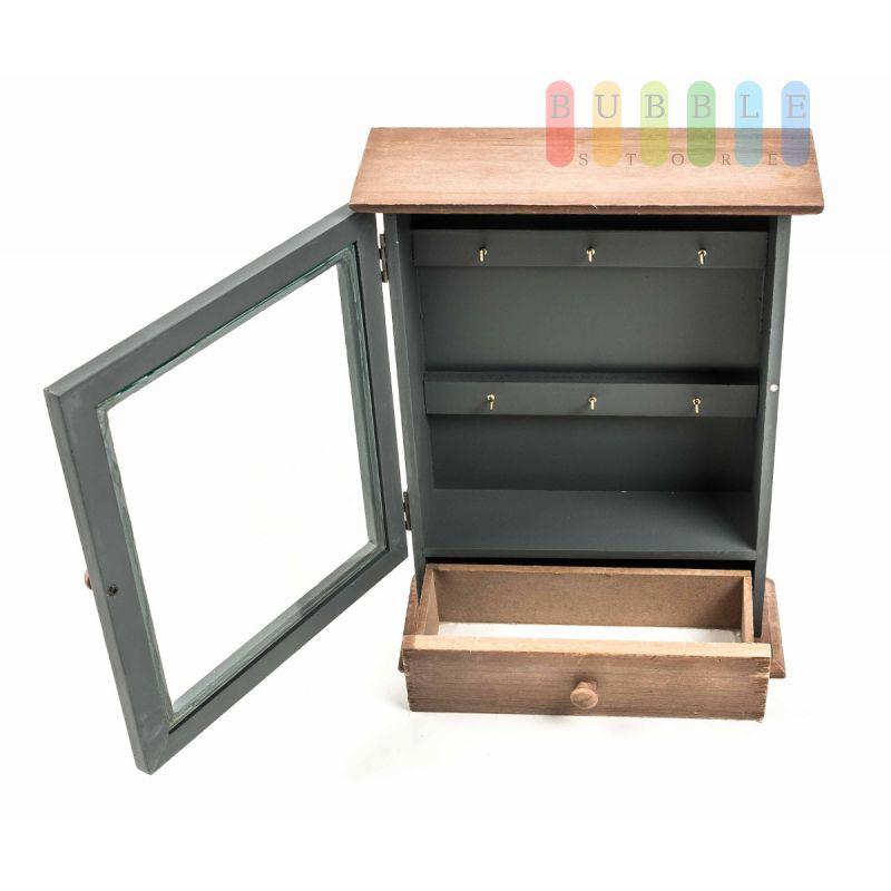 schl sselkasten 6 schl sselhaken holz schl sselschrank t r. Black Bedroom Furniture Sets. Home Design Ideas