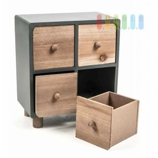 mini kommode von arti casa aus holz 4 schubladen freistehend moder 8 99. Black Bedroom Furniture Sets. Home Design Ideas