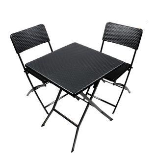 Gartenmöbel Set Tisch Und 2 Stühle Rattan Optik Klappbar Stahl